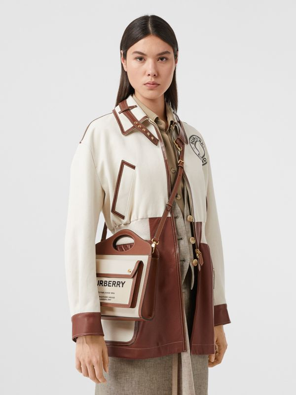 Mini Two-tone Canvas and Leather Pocket Bag in Natural/malt Brown - Women | Burberry United Kingdom - cell image 2