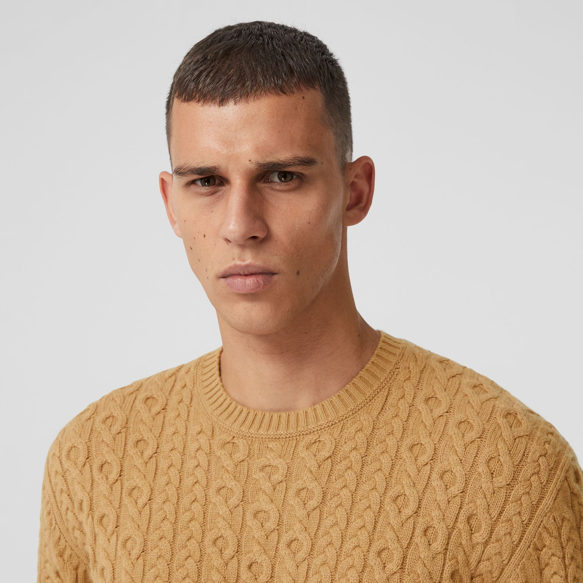 Cable Knit Wool Cashmere Sweater in Camel - Men | Burberry - gallery image 1
