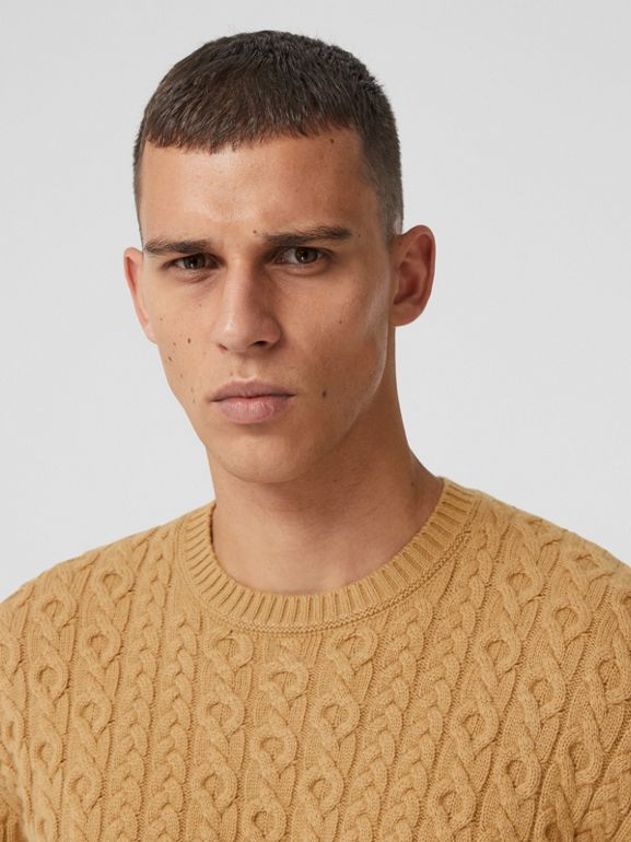 Cable Knit Wool Cashmere Sweater in Camel - Men | Burberry - cell image 1