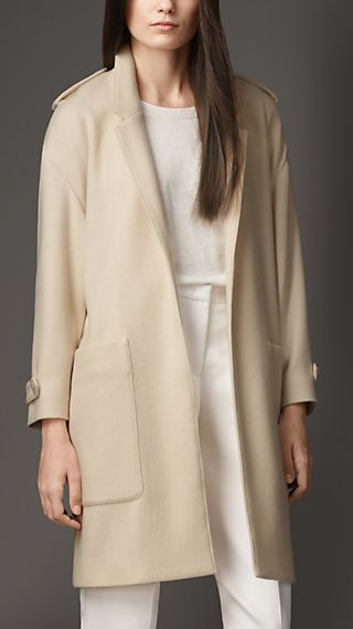 Lightweight Cashmere Twill Wrap Coat