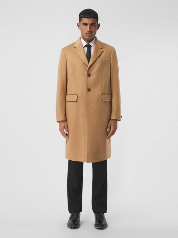 Manteau ajusté en laine et cachemire (Camel)