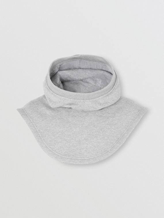 Logo Appliqué Cotton Hood in Grey Melange