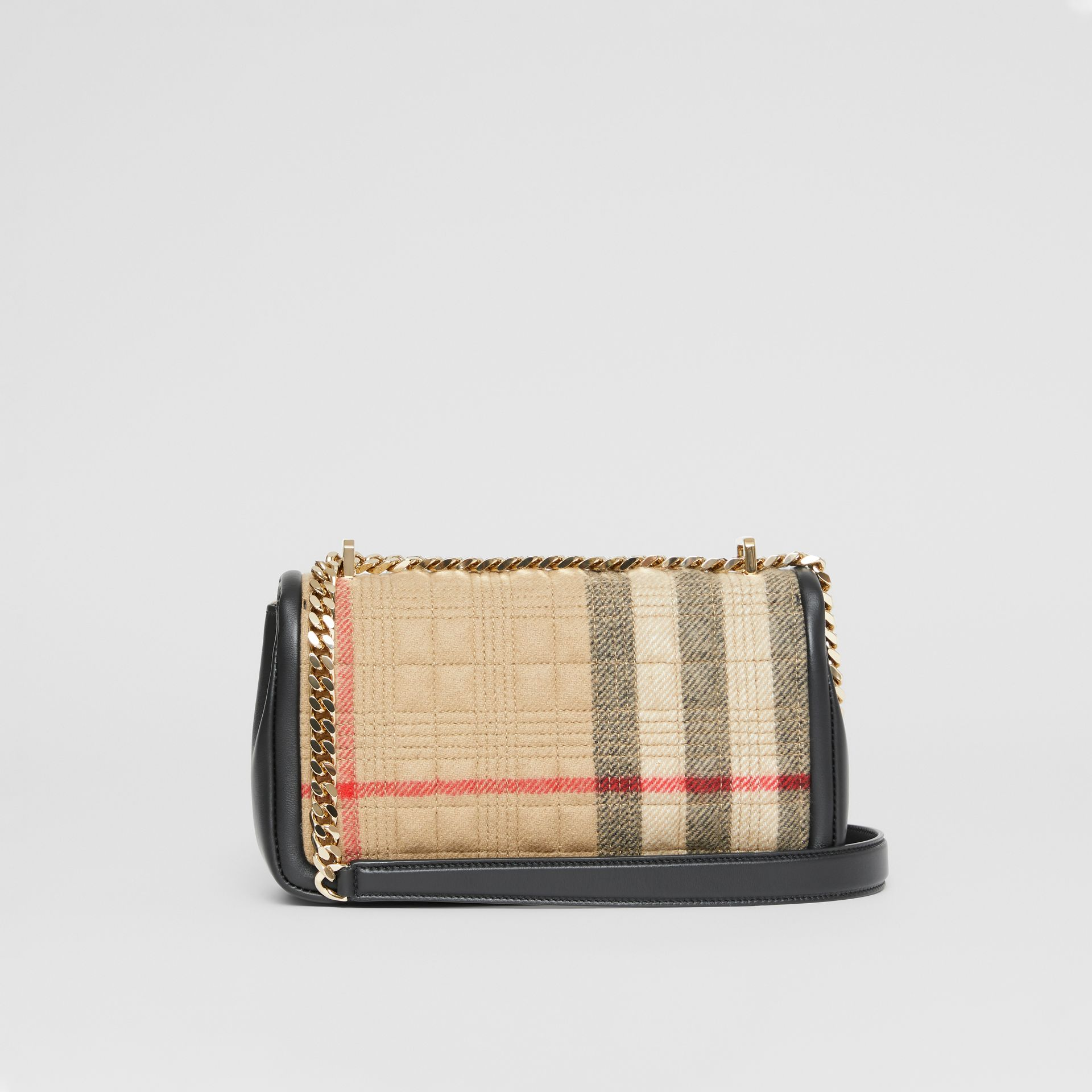 Small Check Cashmere Lola Bag in Archive Beige - Women | Burberry United States - gallery image 7