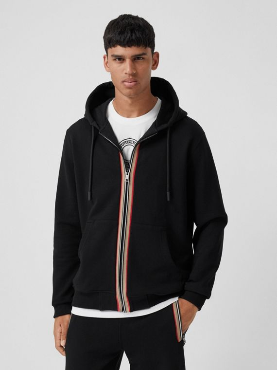 Icon Stripe Detail Organic Cotton Hooded Top in Black