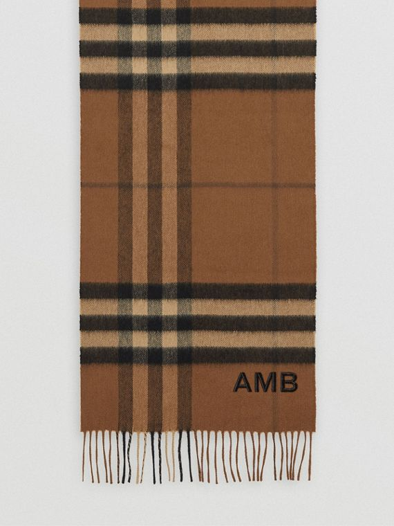 The Classic Check Cashmere Scarf in Bridle Brown