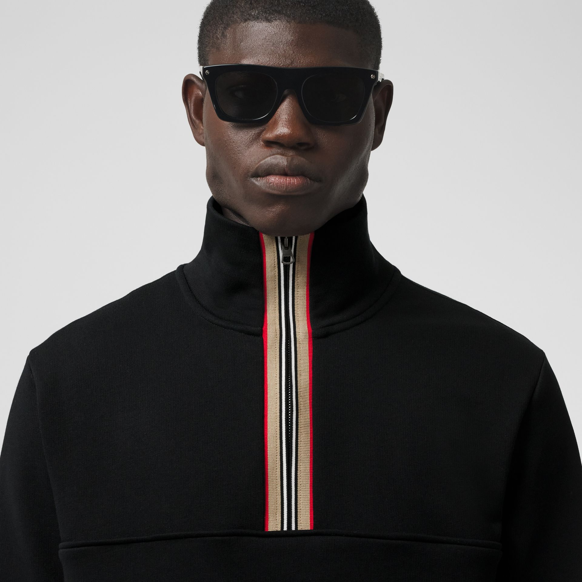 Icon Stripe Detail Cotton Funnel Neck Top in Black - Men | Burberry - gallery image 1