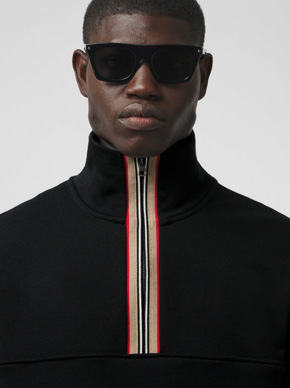 Icon Stripe Detail Cotton Funnel Neck Top in Black - Men | Burberry - cell image 1