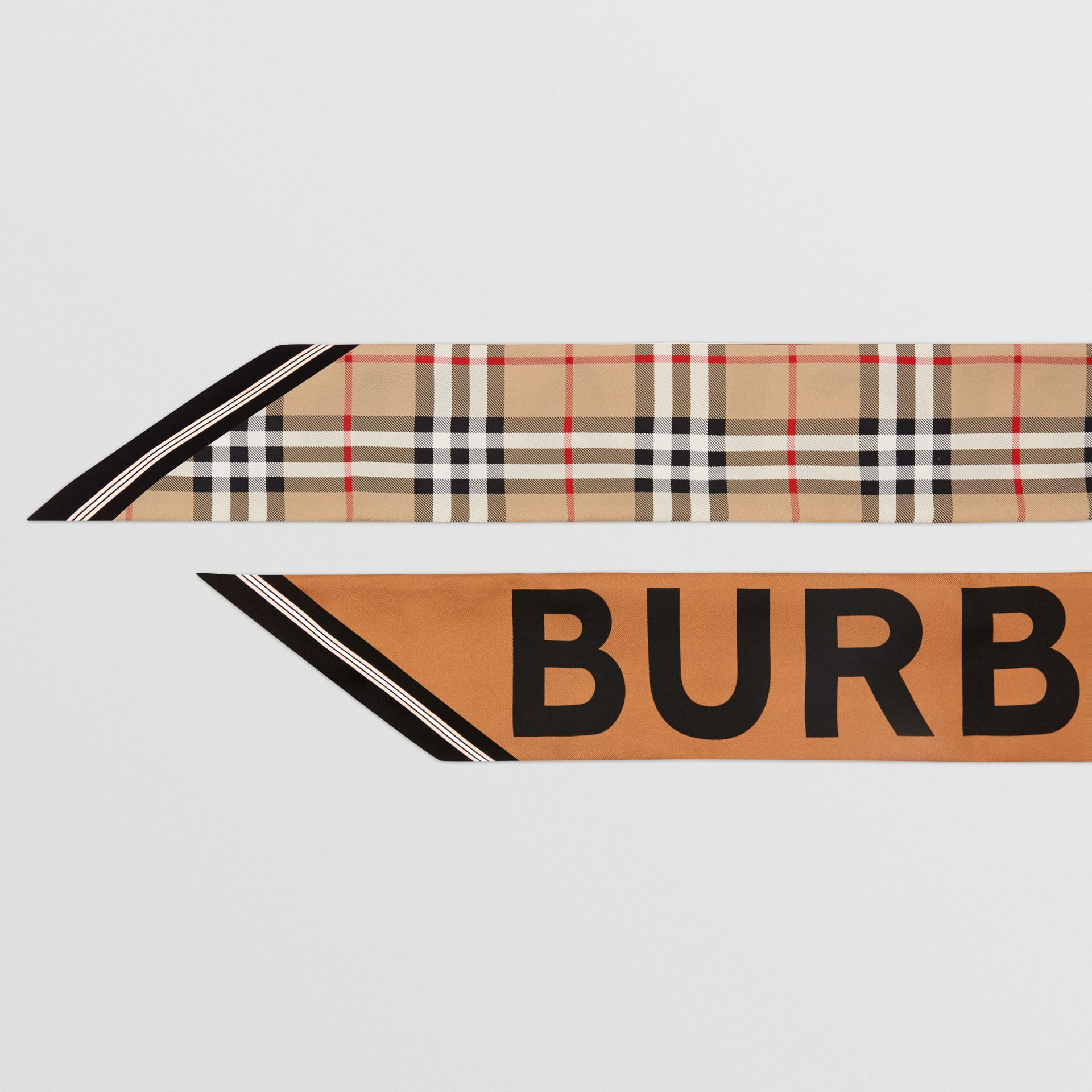 Vintage Check and Logo Print Silk Skinny Scarf in Archive Beige | Burberry - gallery image 1