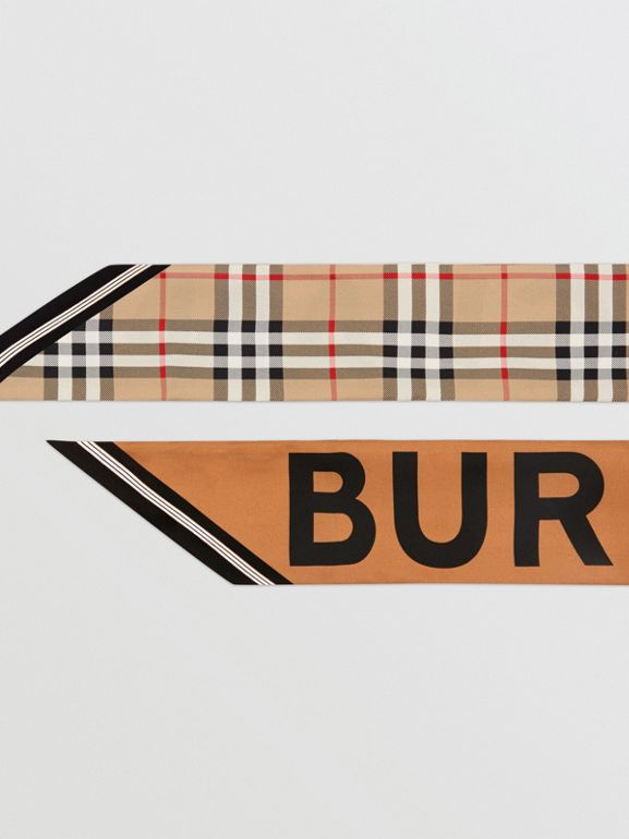 Vintage Check and Logo Print Silk Skinny Scarf in Archive Beige | Burberry - cell image 1