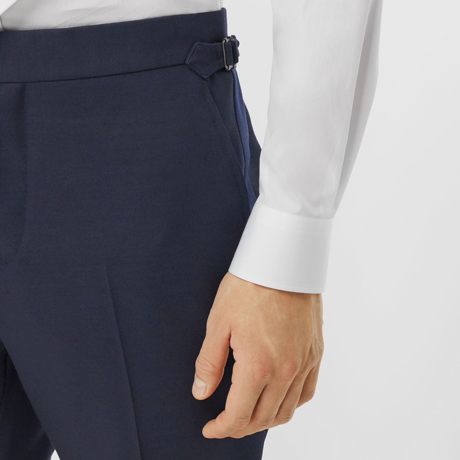 Classic Fit Wool Silk Blend Tailored Trousers in Navy - Men | Burberry - gallery image 1