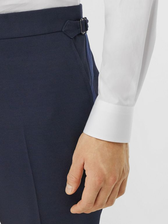 Classic Fit Wool Silk Blend Tailored Trousers in Navy - Men | Burberry - cell image 1