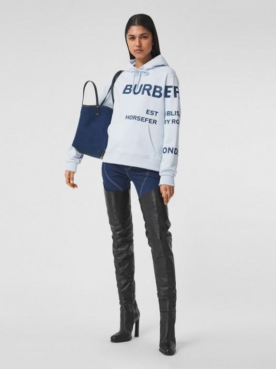Suéter com capuz oversize de algodão com estampa Horseferry (Azul Claro)