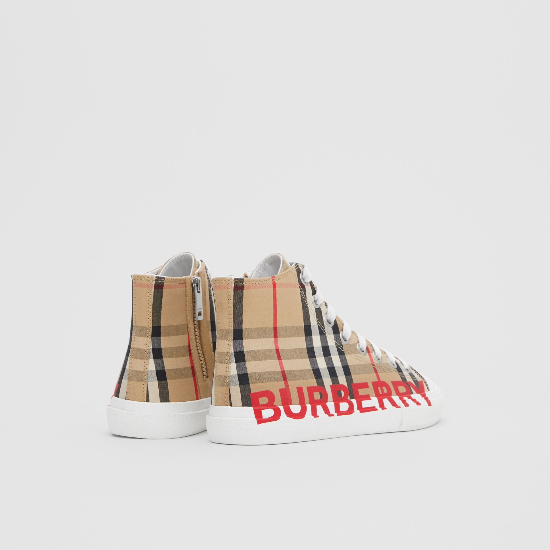 Logo Print Vintage Check High-top Sneakers in Archive Beige - Children | Burberry - gallery image 2