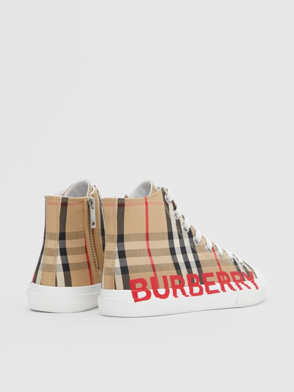Logo Print Vintage Check High-top Sneakers in Archive Beige - Children | Burberry - cell image 2