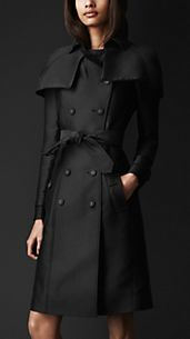 Trench-coat à cape en double duchesse
