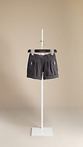 Zip Detail Turn-Up Shorts