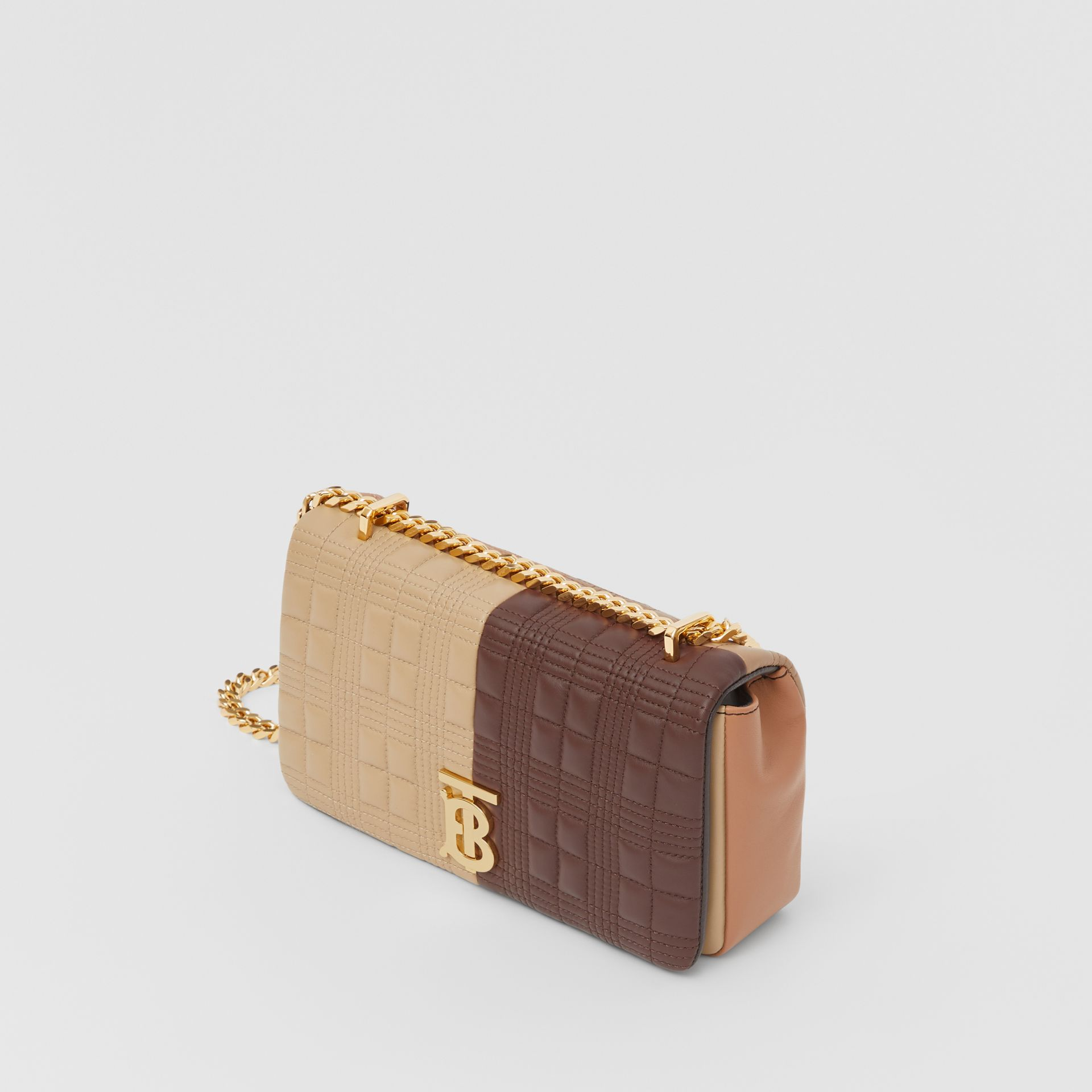 Small Quilted Colour Block Lambskin Lola Bag in Soft Fawn/dark Mocha - Women | Burberry United Kingdom - gallery image 3