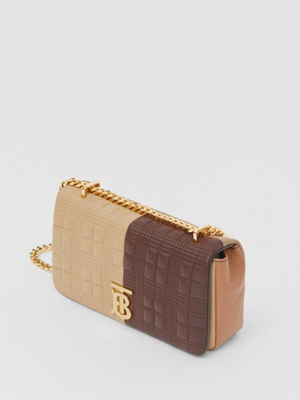 Small Quilted Colour Block Lambskin Lola Bag in Soft Fawn/dark Mocha - Women | Burberry - cell image 3