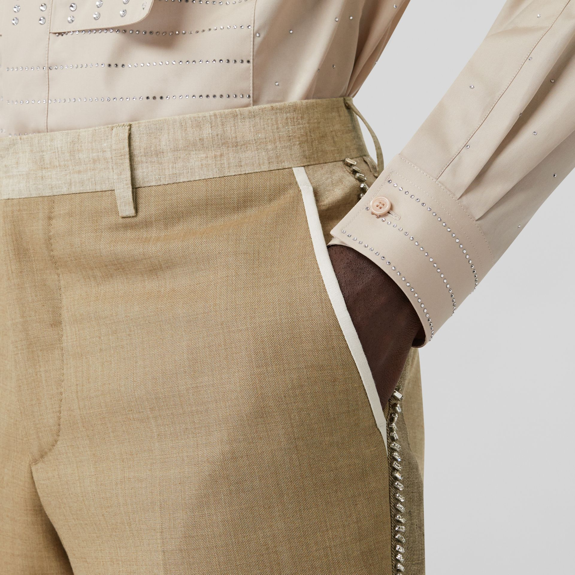 English Fit Crystal Embroidered Wool Cashmere Trousers in Pecan Melange | Burberry United Kingdom - gallery image 4