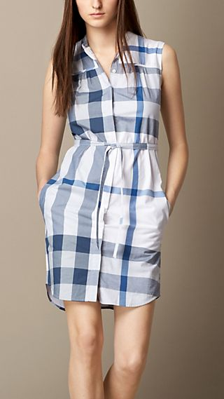 Check Cotton Voile Shirt Dress