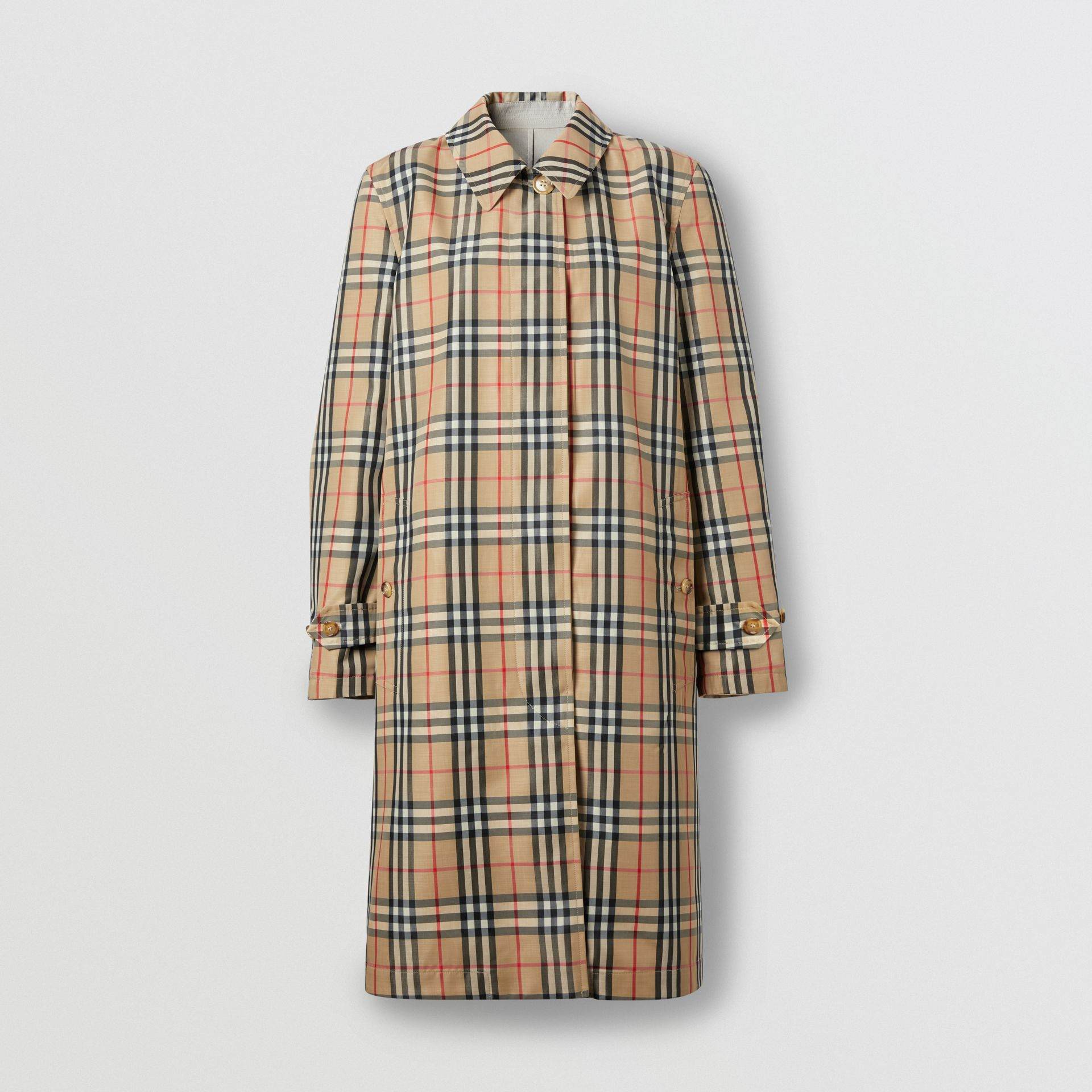 Reversible Cotton and Vintage Check Car Coat in Honey - Women | Burberry - gallery image 6