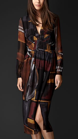 Geometric Print Layered Silk Smock Dress