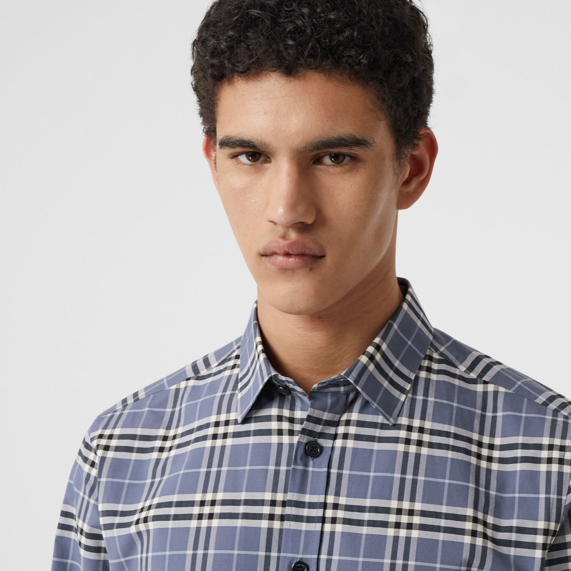 Small Scale Check Stretch Cotton Shirt in Pebble Blue - Men | Burberry United Kingdom - gallery image 1