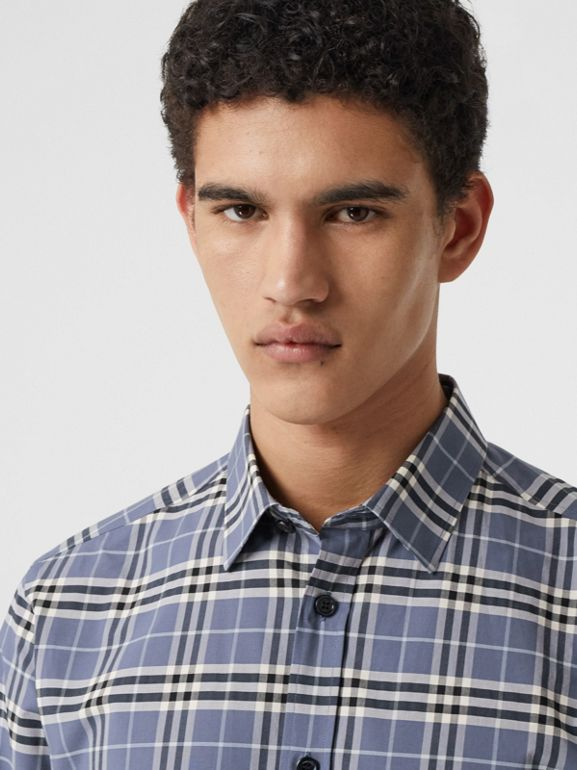 Small Scale Check Stretch Cotton Shirt in Pebble Blue - Men | Burberry United Kingdom - cell image 1