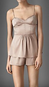 Corset Detail Stretch-Silk Camisole