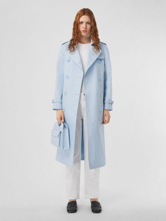 Technical Cotton Gabardine Trench Coat in Pale Blue