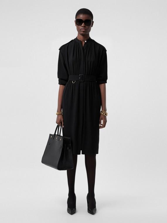Long-sleeve Epaulette Detail Silk Georgette Dress in Black