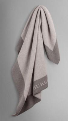 中灰色条纹 同色系羊毛喀什米尔毛毯 - 图像 1
