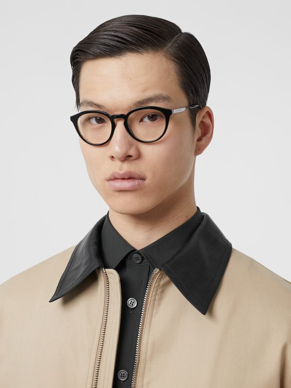 Round Optical Frames in Black/beige - Men | Burberry - cell image 2