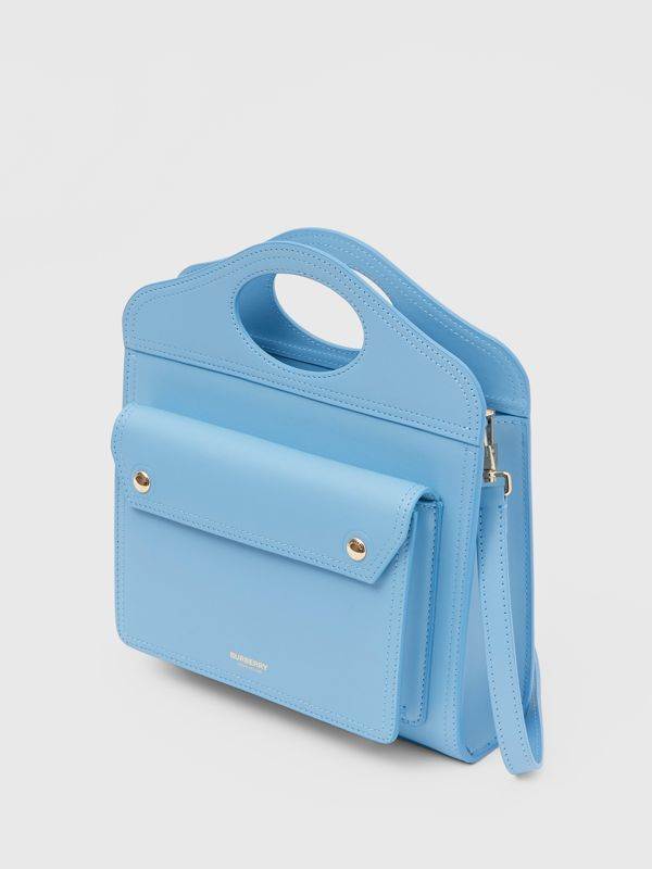 Mini Leather Pocket Bag in Blue Topaz - Women | Burberry United States - cell image 3