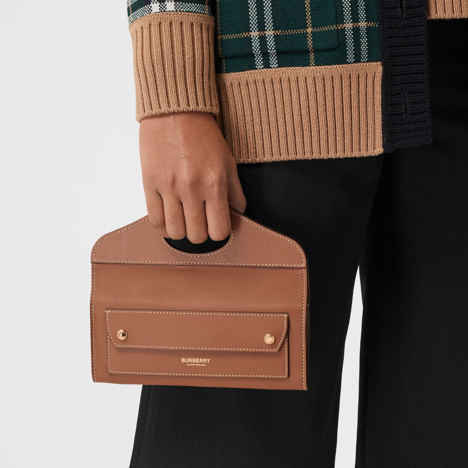 Mini Topstitched Lambskin Pocket Clutch in Malt Brown - Women | Burberry - gallery image 8