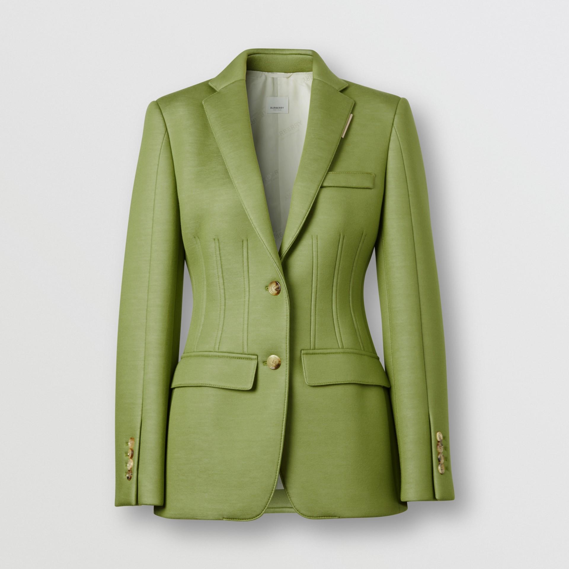 Double-faced Neoprene Tailored Jacket in Cedar Green - Women | Burberry - gallery image 3