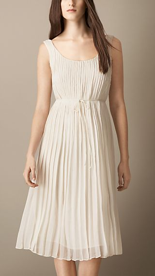 Sleeveless Pleated Silk Dress