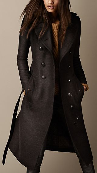 Long Wool Twill Trench Coat