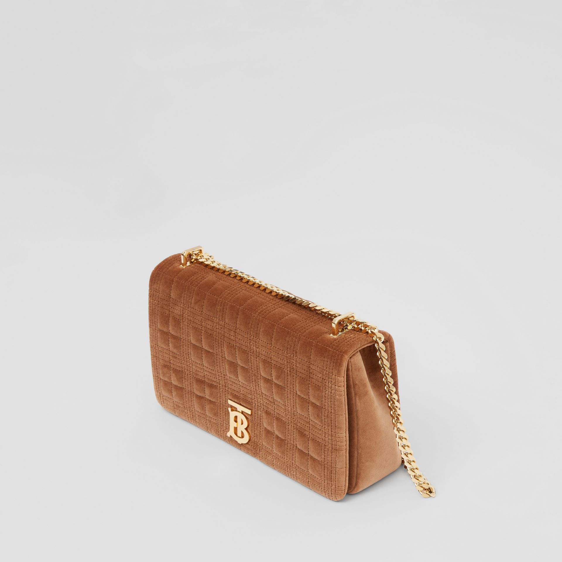 Medium Quilted Velvet Lola Bag in Fawn - Women | Burberry United Kingdom - gallery image 3