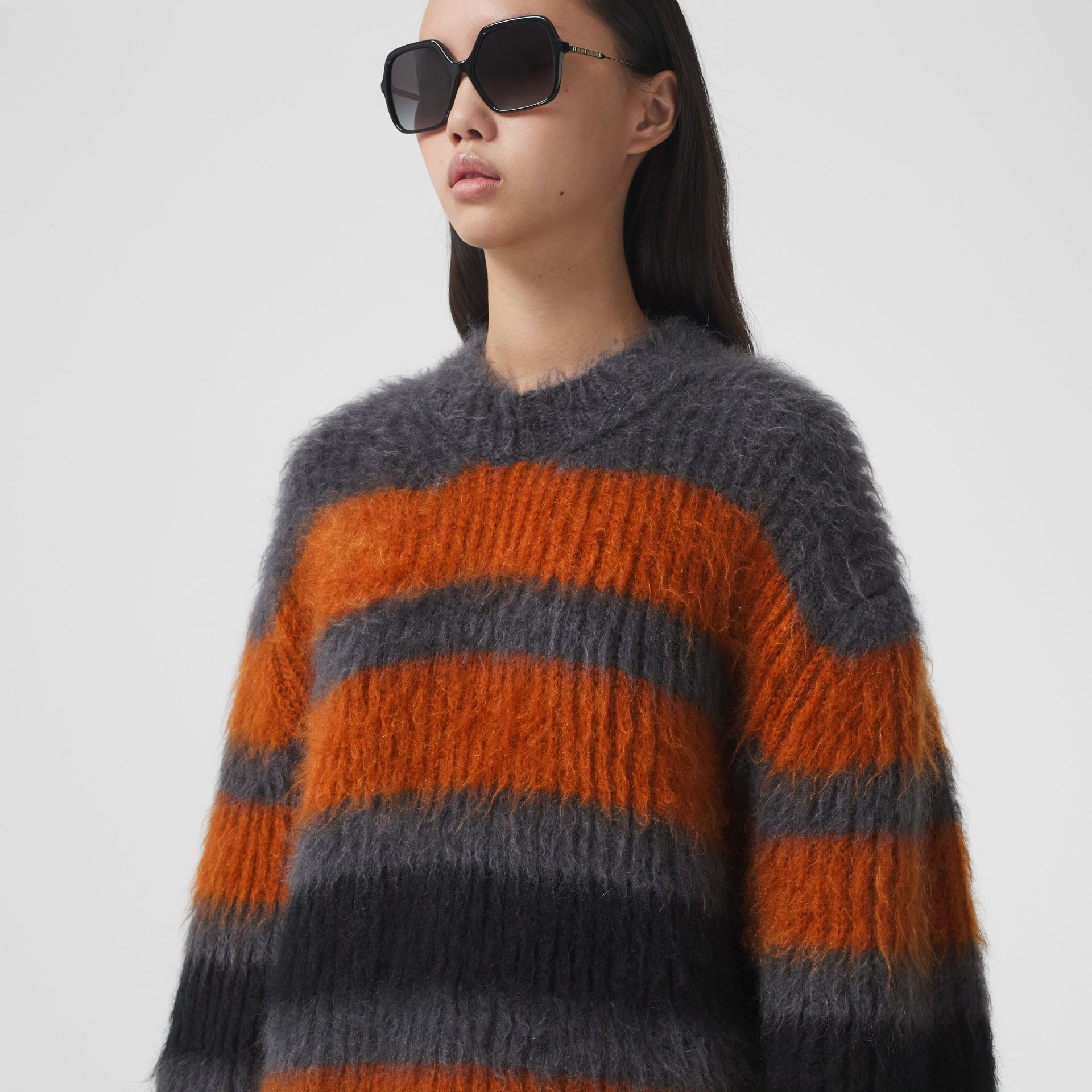 Stripe Intarsia Mohair Silk Oversized Sweater in Dark Grey Melange - Women | Burberry - gallery image 1