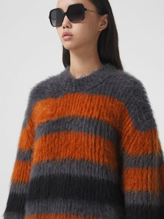 Stripe Intarsia Mohair Silk Oversized Sweater in Dark Grey Melange - Women | Burberry - cell image 1
