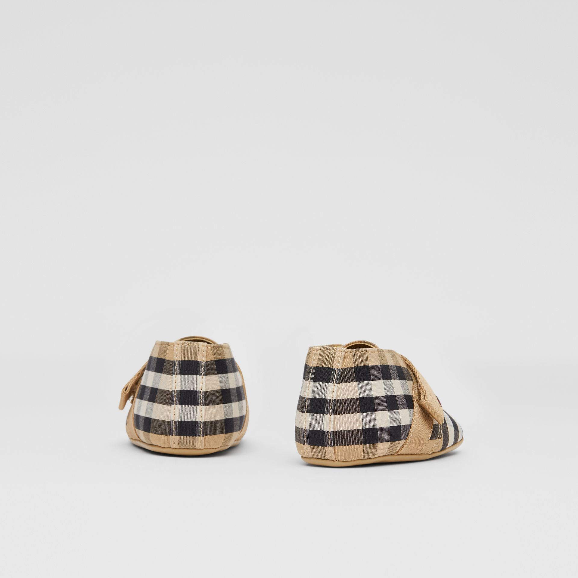 Vintage Check Cotton Booties in Archive Beige - Children | Burberry United Kingdom - gallery image 2