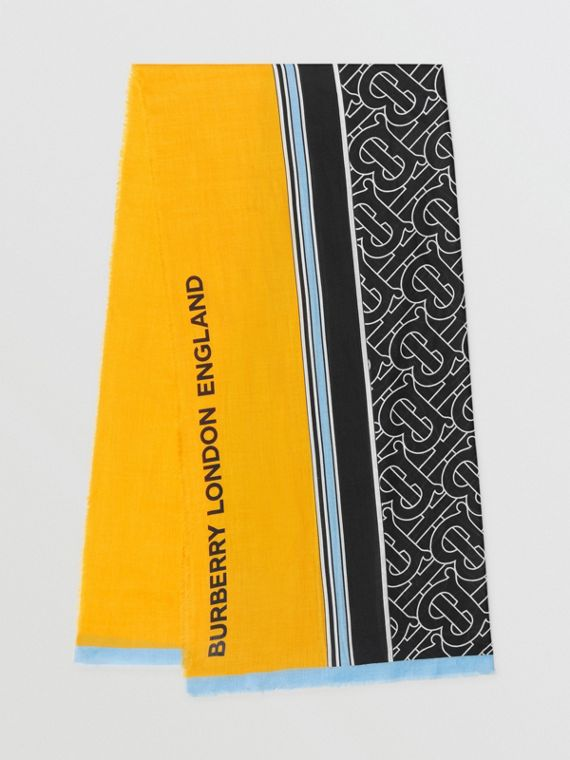 Monogram Print Striped Lightweight Cashmere Scarf in Citrus Yellow