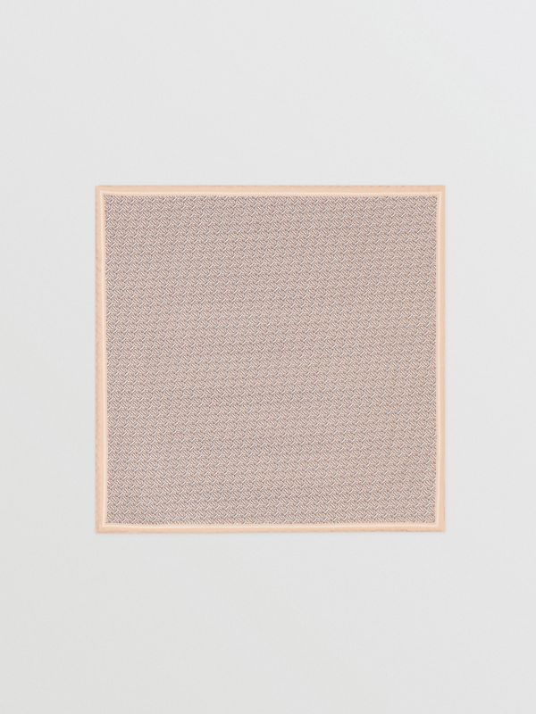 Monogram Print Silk Pocket Square in Blush Pink - Men | Burberry - cell image 3