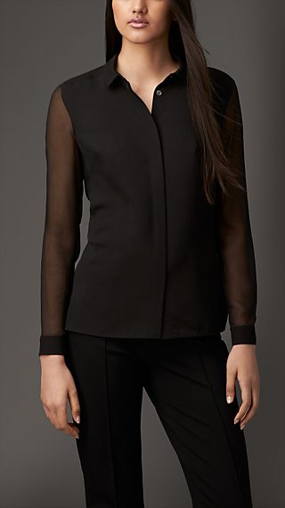 Contrast Silk Shirt