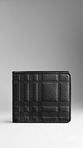 Check Embossed Leather ID Wallet