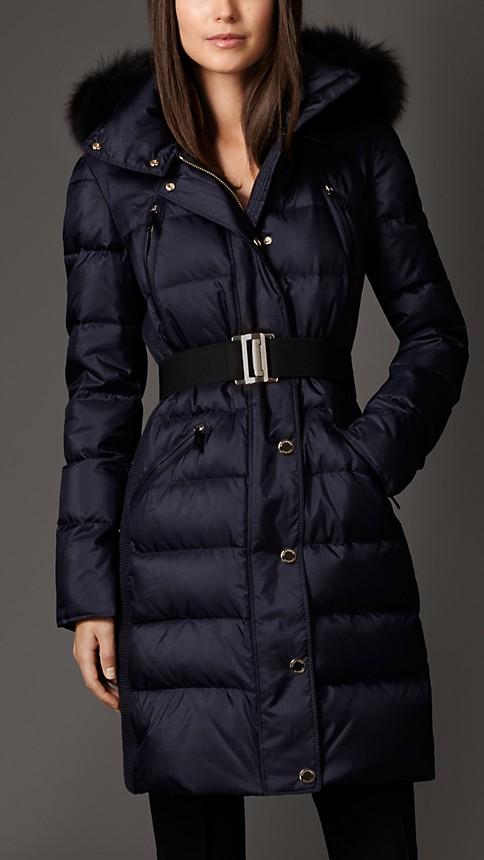 Navy Fur Trim Puffer Coat - Image 1