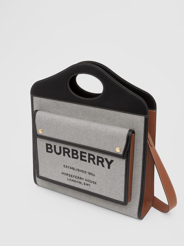 Borsa Pocket media bicolore in tela e pelle (Nero/marroncino) - Donna | Burberry - cell image 2