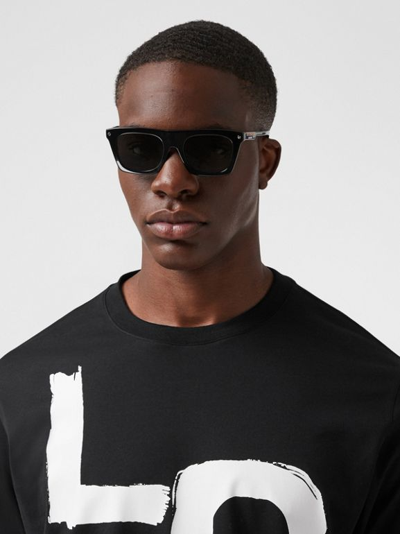 Long-sleeve Love Print Cotton Top in Black - Men | Burberry - cell image 1