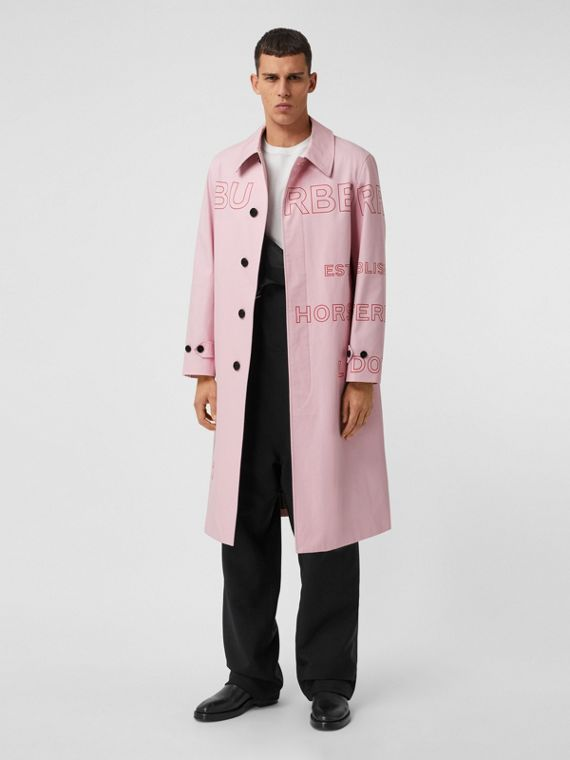 Car coat in gabardine di cotone con stampa Horseferry (Rosa Chiaro)